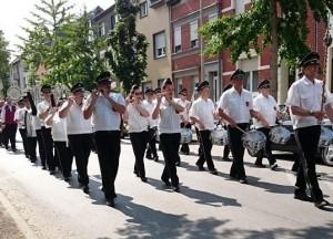 Trommler und Pfeiferkorps Aachen Brand bei den Würselner Jugenspielen
